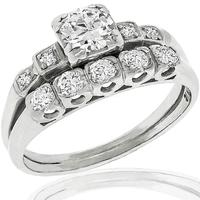 Estate 0.60ct Diamond Engagement & Wedding Band Set