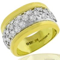 Estate 2.00ct Round Cut Diamond 18k Yellow And White Gold Ring