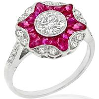 0.59ct Diamond Ruby Gold Engagement Ring