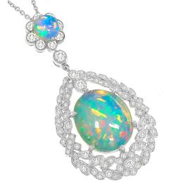 Antique Style Opal Diamond Pendant