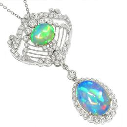 Edwardian Style 4.98ct Cabochon Fiery Green & Blue Cabochon Oval Cut Opal 1.07ct Round Diamond 18k White Gold Pendant