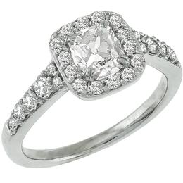 Estate 0.70ct Modified Cushion Cut  Center Diamond & 0.50ct Round Cut Diamond 14k White Gold Engagement & Wedding Band Set