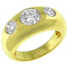 Estate 1.22ct Old Mine Center & 0.50ct Old Mine Mine Side Diamonds 18k Yellow Gold Gypsy Ring