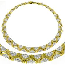 Estate 17.00ct Round Cut Diamond 18k Yellow & White Gold Geometric Necklace