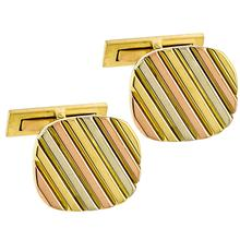 Estate 18k Yellow, Pink & White Gold  Pin Stripe Cufflinks