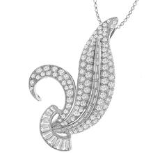 Estate 1950s 3.50ct Diamond Platinum Leaf Pendant