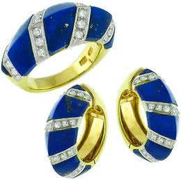 1.85ct Diamond Lapis Gold Huggies Earrings & Ring Set 1