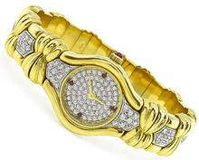 Estate 3.25ct Diamond Gold Bangle Watch