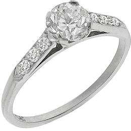 Estate Antique 0.35ct Old Mine Cut Diamond Platinum Engagement Ring & 0.50ct Old Mine Cut Diamond Eternity Wedding Band Set