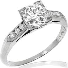 Estate Antique 1900s 0.78ct Old Mine Cut Diamond Platinum Engagement Ring