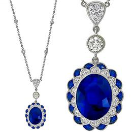 Antique Style Sapphire Diamond Gold Necklace