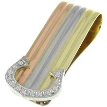 Estate Cartier Style Round Cut Diamond 14k Yellow, White & Pink Gold Money Clip