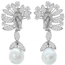 David Webb Diamond Pearl Platinum Chandelier Earrings