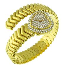 Estate Lalanne 1.50ct Round Cut Diamond 18k Yellow Gold Heart Watch