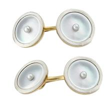 14k yellow and white gold mother of pearl seed pearl cufflinks 1