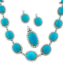 18k white gold necklace and earring set 1