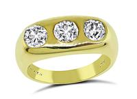 Estate 1.40ct Diamond Gold Gypsy Ring