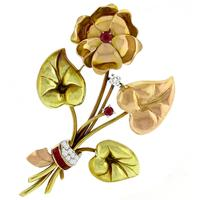 Ruby Diamond 2 Tone Gold Flower Pin