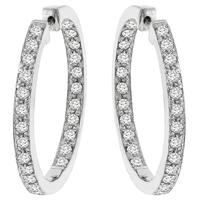Estate 4.00ct Round Brilliant  Cut Inside Out Diamond 14k White Gold Hoops Earrings