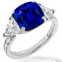 Estate GAL Certified 5.65ct Sapphire 1.00ct Diamond Ring 1