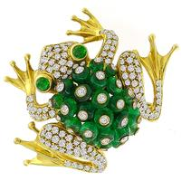 Giovane 8.10ct Emerald 2.50ct Diamond Gold Frog Pin