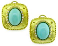 E Gallant Turquoise Diamond  14k Gold Earrings