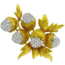 1960s 1.00ct Round Cut Diamond 18k Yellow & White Gold Acorn Branch Pin