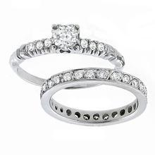 14k white gold engagement ring and wedding band set 1