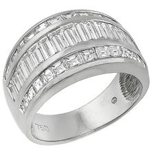 Estate 1.85ct Baguette & Carre Cut Diamond 18k White Gold Ring