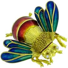 Diamond Enamel Gold Bee Pin