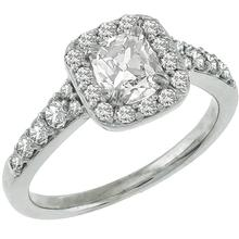 Estate 0.70ct Modified Cushion Cut  Center Diamond & 0.50ct Round Cut Diamond 14k White Gold Engagement & Wedding Band Set