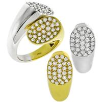 2.40ct Diamond Piebald Gold Ring and Earrings Set