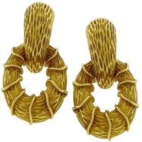 Estate 18k Yellow Gold Door Knocker Earrings