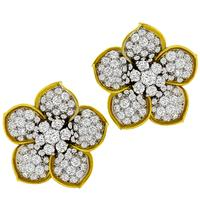 10.00ct Diamond 2 Tone Gold Flower Earrings