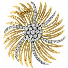 Diamond 2 Tone Gold Star Burst Pin