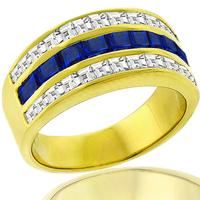 1.30ct Sapphire 1.14ct Diamond Gold Ring
