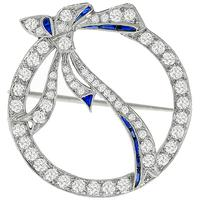 Art Deco 2.50ct Diamond Sapphire Circle Bow Pin