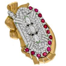 Retro 1940s & Art Deco 1.50ct Marquise & 4.00ct Carre & Old MIne Cut Diamond 5.00ct Round Cut Burmese Ruby Onyx Emerald Platinum Pink Gold Pin