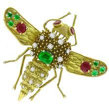 Ruby Emerald Diamond Gold Bee Pin