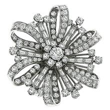 Diamond Platinum Flower Pin/ Pendant