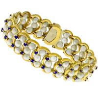 2.10ct Sapphire 3 Row Pearl Gold Bracelet
