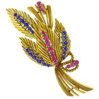 0.72ct Sapphire 0.52ct Ruby Gold Floral Pin