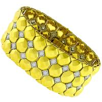 Vintage Estate 4.35ct Round Cut Diamond 18k Yellow And White Gold Geometric Bracelet