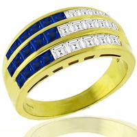0.75ct Sapphire 0.60ct Diamond Gold Ring