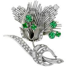 2.00ct  Emerald 1.00ct Diamond Platinum Flower Pin