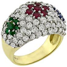 Estate 1.50ct Round Cut Diamond 0.25ct Round Cut Emerald 0.30ct Round Ruby 0.25ct Round Cut Sapphire 18k Yellow Gold Ring