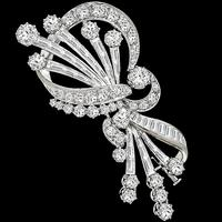 1950s 6.00ct Diamond Gold Floral Pin