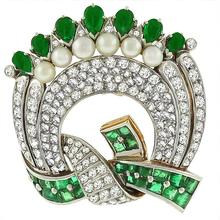 Victorian Art Deco 2.50ct Pear Shape & Square Cut Emerald 3.00ct Rose & Old Mine Diamond Platinum 18k Yellow Gold Pin