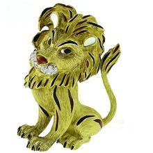 Diamond Enamel Gold Lion Pin