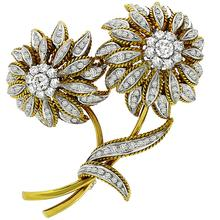 Estate 1950s 5.00ct Round Cut Diamond 18k Yellow & White Gold Sunflower Pin